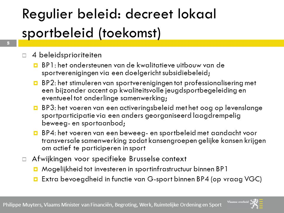 Regulier beleid: decreet lokaal sportbeleid (toekomst)