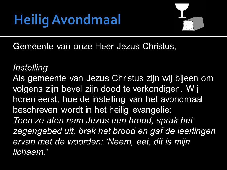 Heilig Avondmaal Gemeente van onze Heer Jezus Christus, Instelling