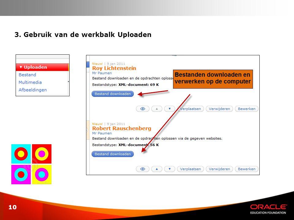 3. Gebruik van de werkbalk Uploaden