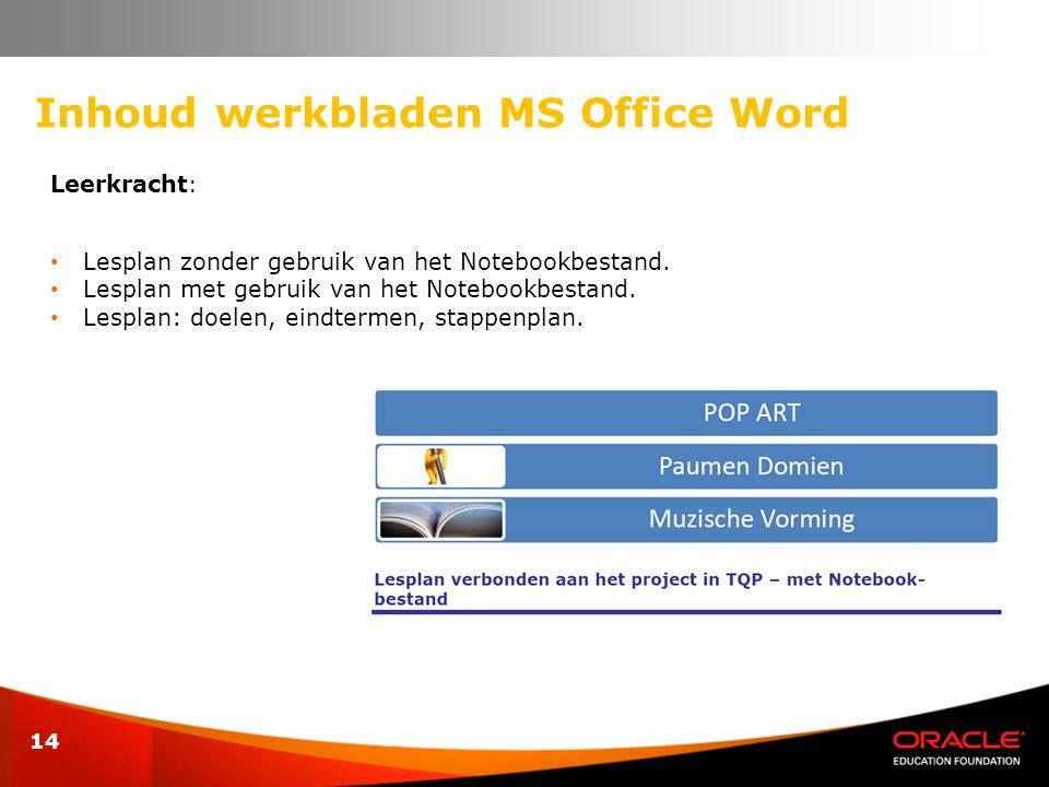 Inhoud werkbladen MS Office Word