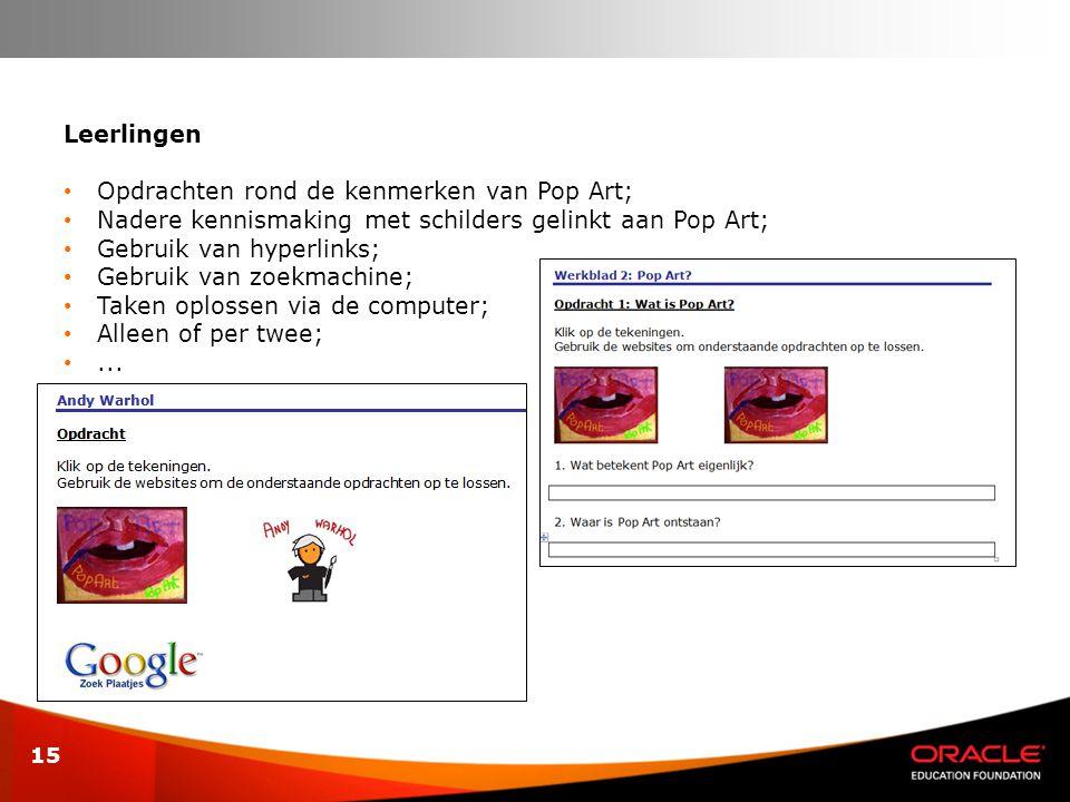 Leerlingen Opdrachten rond de kenmerken van Pop Art; Nadere kennismaking met schilders gelinkt aan Pop Art;
