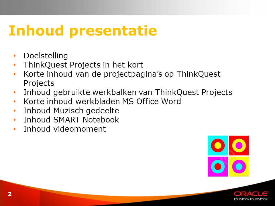 Inhoud presentatie Doelstelling ThinkQuest Projects in het kort
