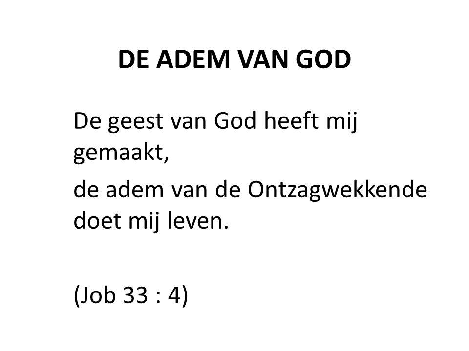 DE ADEM VAN GOD De geest van God heeft mij gemaakt,