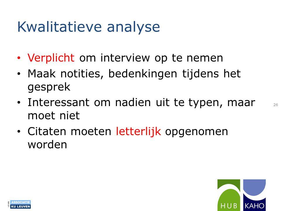 Kwalitatieve analyse Verplicht om interview op te nemen