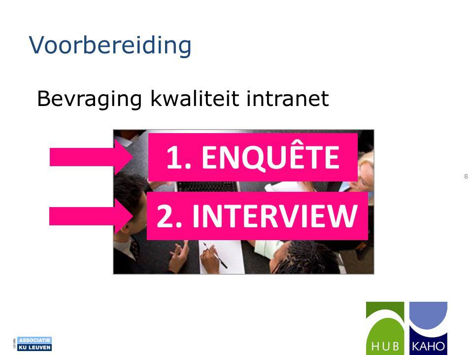 Voorbereiding Bevraging kwaliteit intranet 1. ENQUÊTE 2. INTERVIEW
