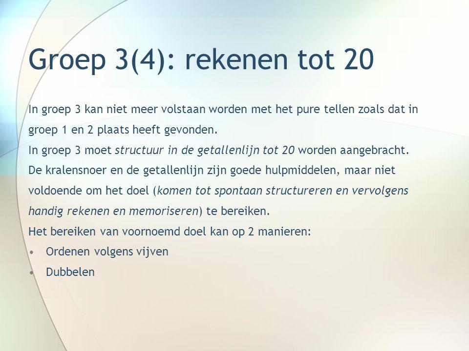 Groep 3(4): rekenen tot 20 In groep 3 kan niet meer volstaan worden met het pure tellen zoals dat in.