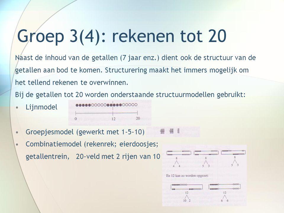 Groep 3(4): rekenen tot 20 Naast de inhoud van de getallen (7 jaar enz.) dient ook de structuur van de.