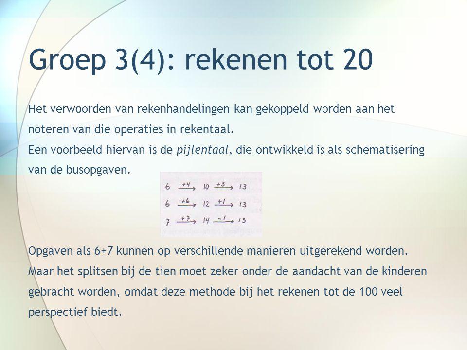 Groep 3(4): rekenen tot 20 Het verwoorden van rekenhandelingen kan gekoppeld worden aan het. noteren van die operaties in rekentaal.