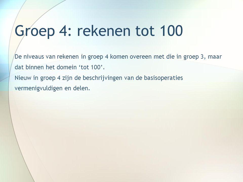 Groep 4: rekenen tot 100 De niveaus van rekenen in groep 4 komen overeen met die in groep 3, maar. dat binnen het domein 'tot 100'.