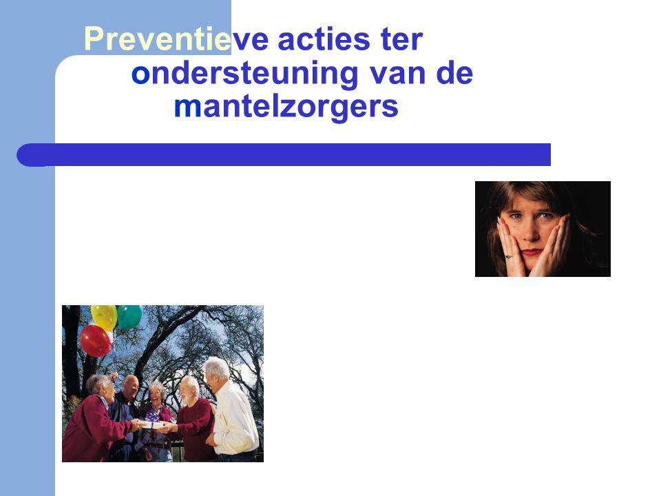 Preventieve acties ter ondersteuning van de mantelzorgers