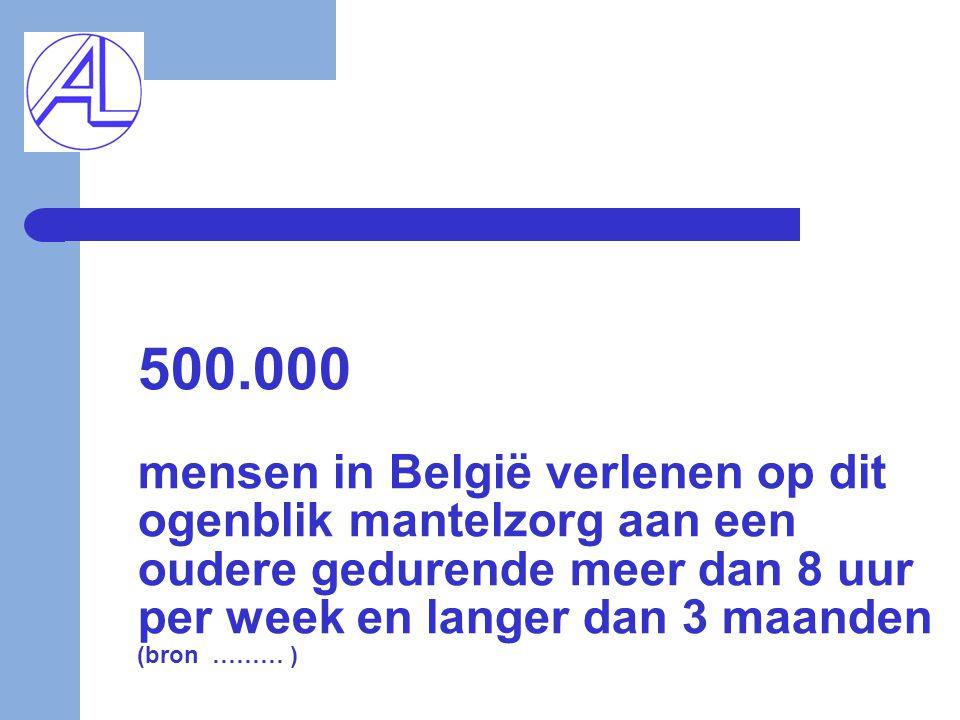 500.000 mensen in België verlenen op dit ogenblik mantelzorg aan een oudere gedurende meer dan 8 uur per week en langer dan 3 maanden (bron ……… )