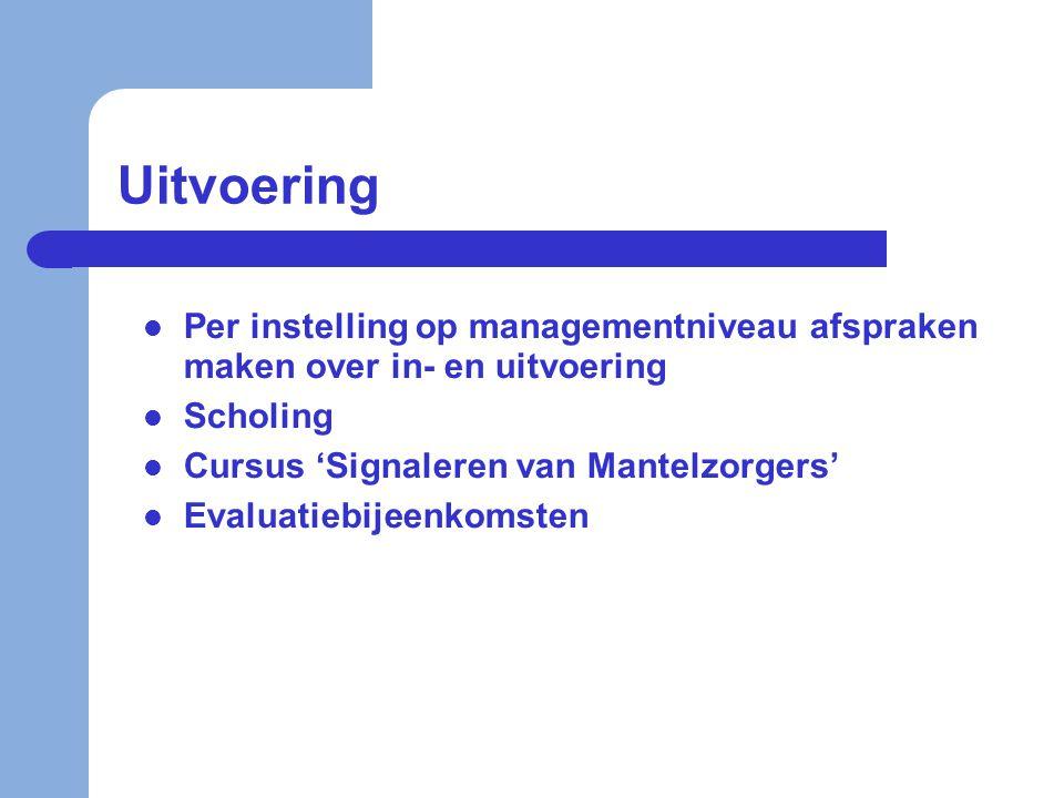 Uitvoering Per instelling op managementniveau afspraken maken over in- en uitvoering. Scholing. Cursus 'Signaleren van Mantelzorgers'