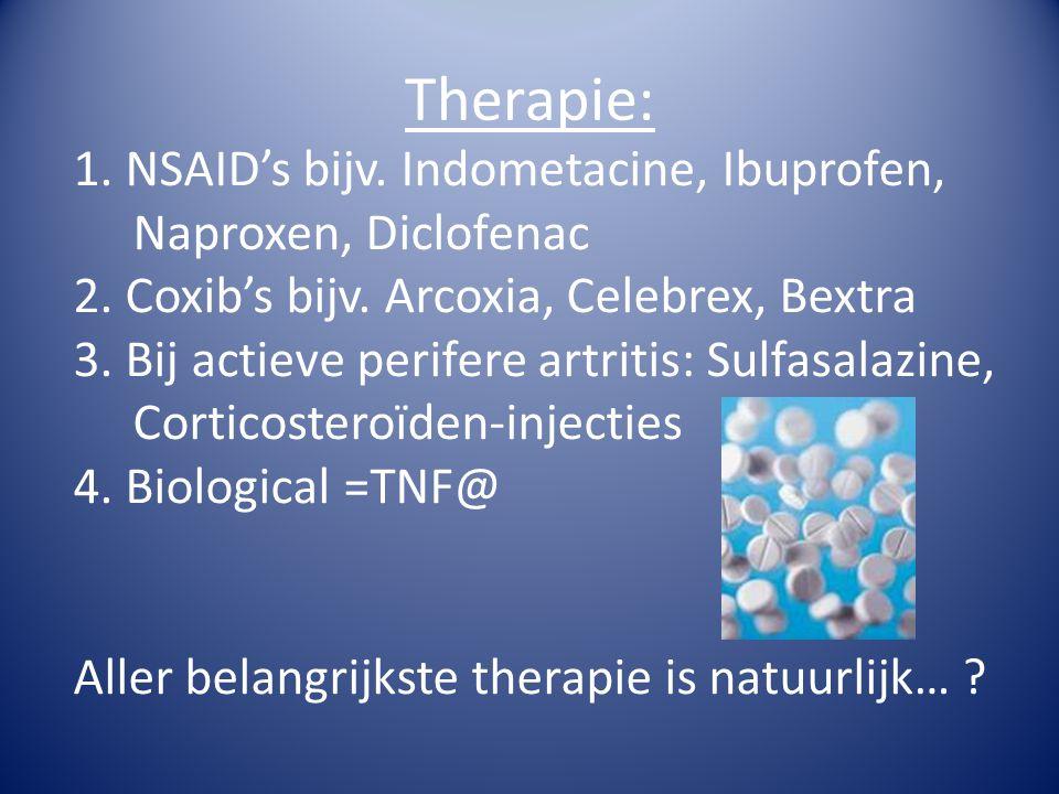 Therapie: 1. NSAID's bijv. Indometacine, Ibuprofen, Naproxen, Diclofenac. 2. Coxib's bijv. Arcoxia, Celebrex, Bextra.