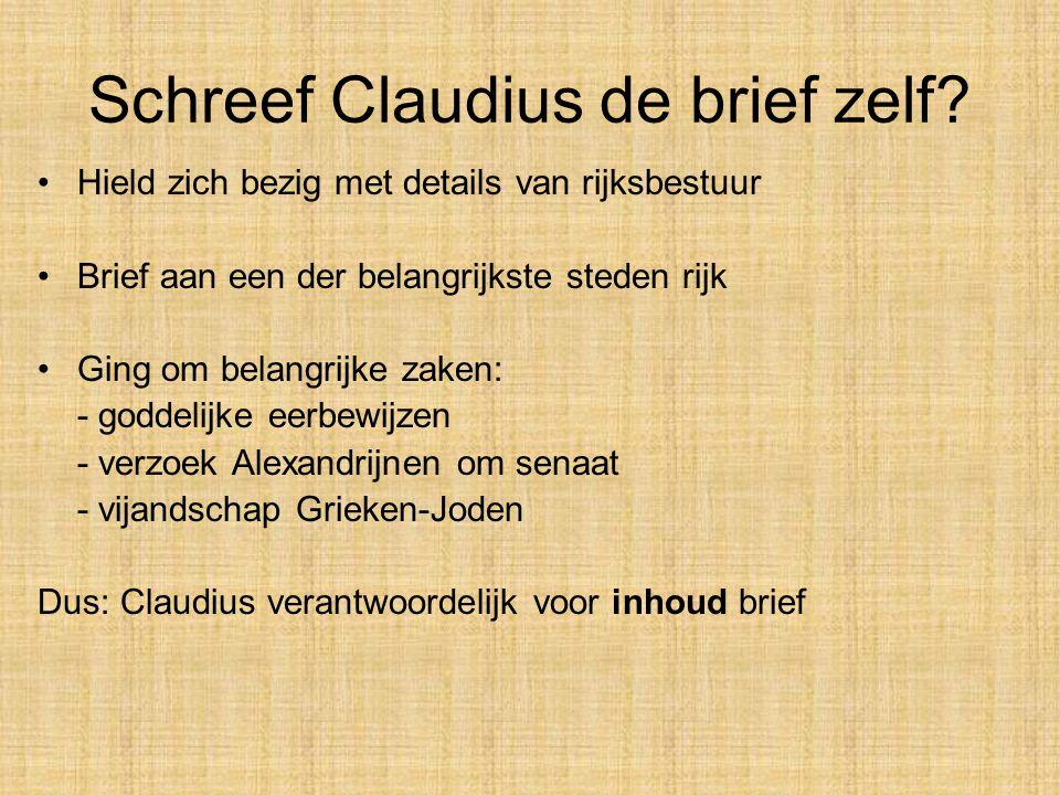 Schreef Claudius de brief zelf