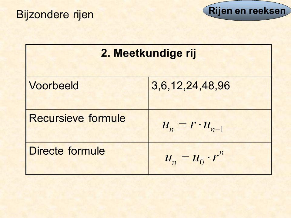 Bijzondere rijen 2. Meetkundige rij Voorbeeld 3,6,12,24,48,96