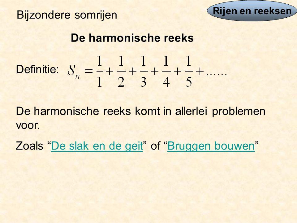 De harmonische reeks komt in allerlei problemen voor.
