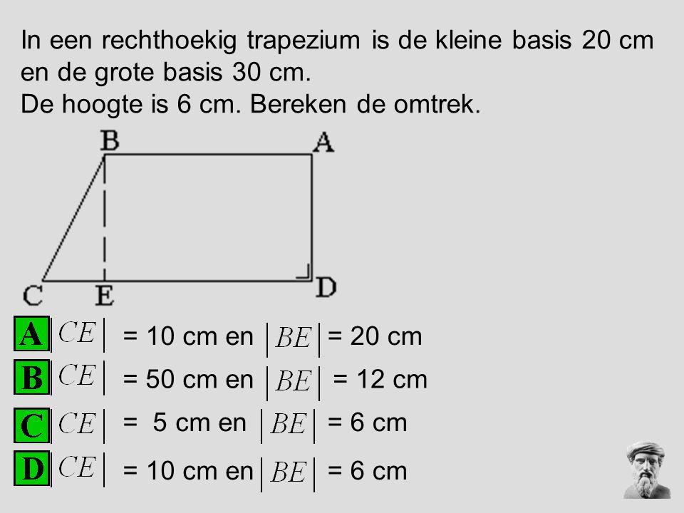 In een rechthoekig trapezium is de kleine basis 20 cm en de grote basis 30 cm.