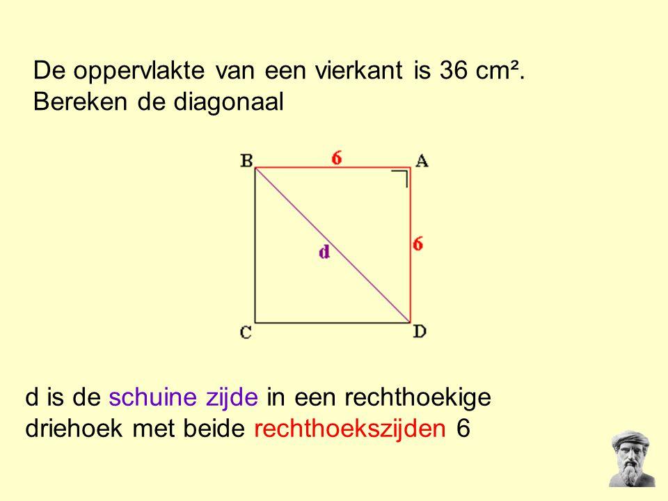 De oppervlakte van een vierkant is 36 cm². Bereken de diagonaal