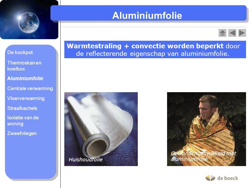 Aluminiumfolie Warmtestraling + convectie worden beperkt door de reflecterende eigenschap van aluminiumfolie.