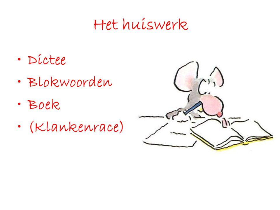 Het huiswerk Dictee Blokwoorden Boek (Klankenrace)