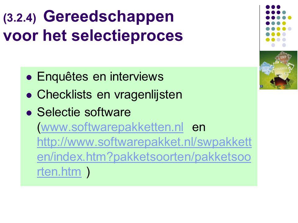 (3.2.4) Gereedschappen voor het selectieproces