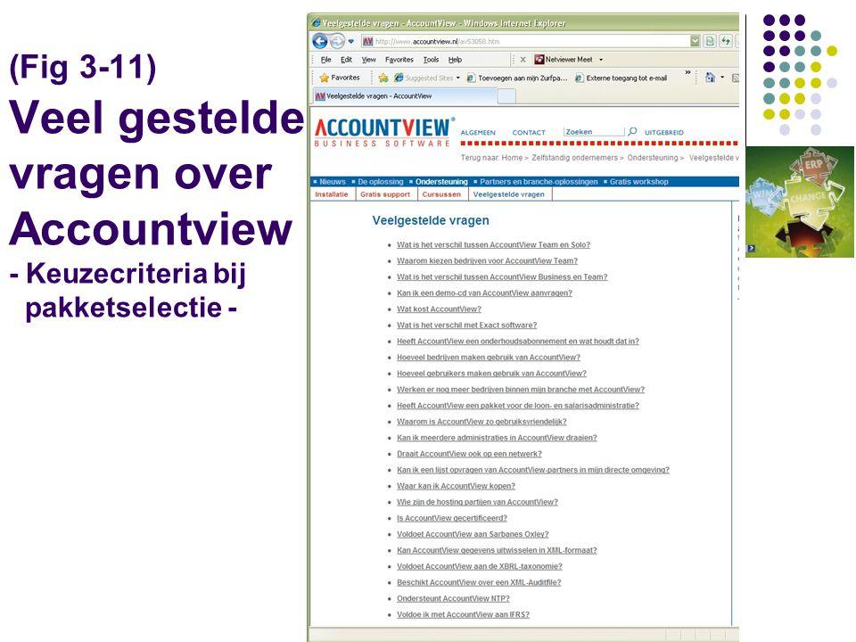 (Fig 3-11) Veel gestelde vragen over Accountview - Keuzecriteria bij pakketselectie -