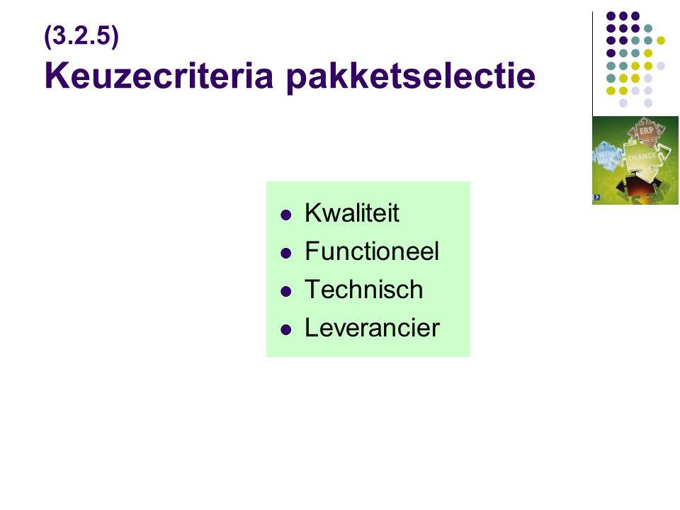 (3.2.5) Keuzecriteria pakketselectie