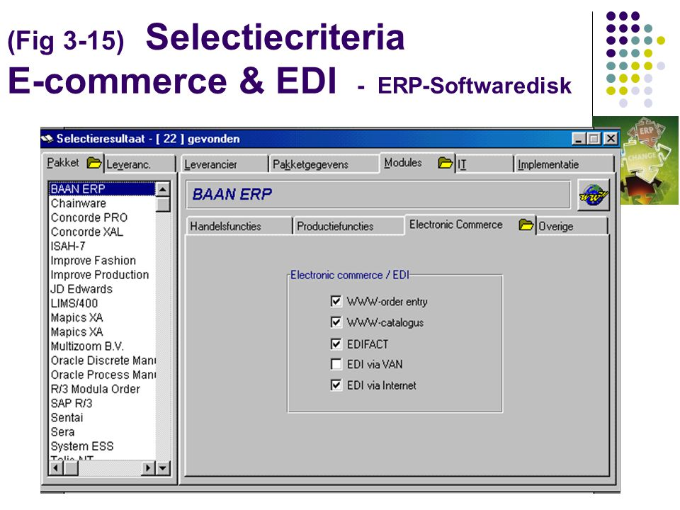 (Fig 3-15) Selectiecriteria E-commerce & EDI - ERP-Softwaredisk