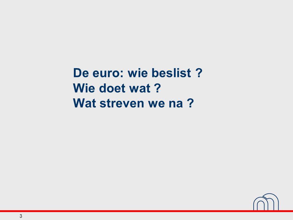 De euro: wie beslist Wie doet wat Wat streven we na