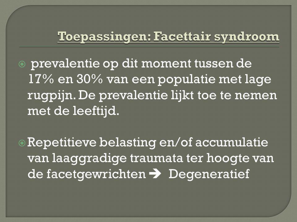 prevalentie op dit moment tussen de 17% en 30% van een populatie met lage rugpijn. De prevalentie lijkt toe te nemen met de leeftijd.