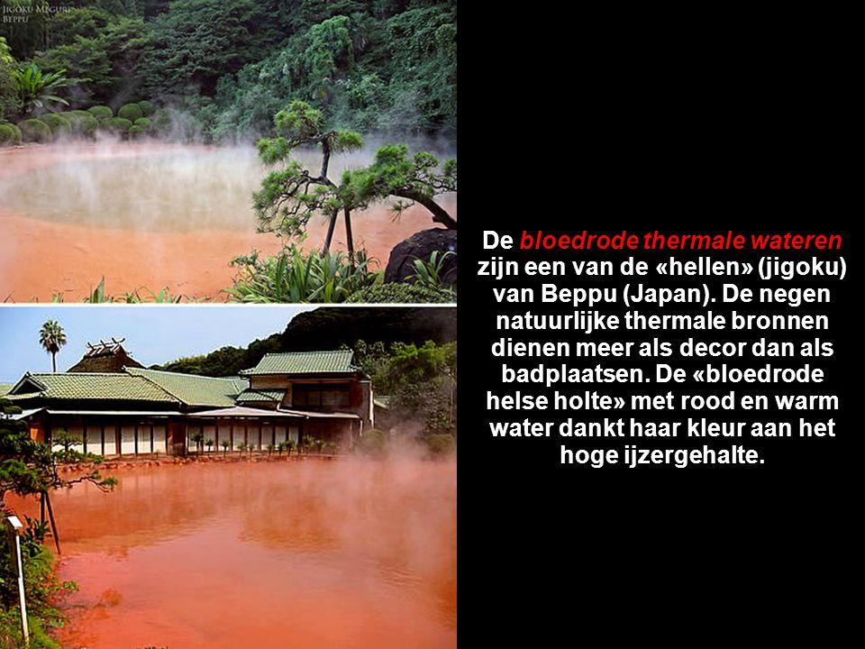 De bloedrode thermale wateren zijn een van de «hellen» (jigoku) van Beppu (Japan).
