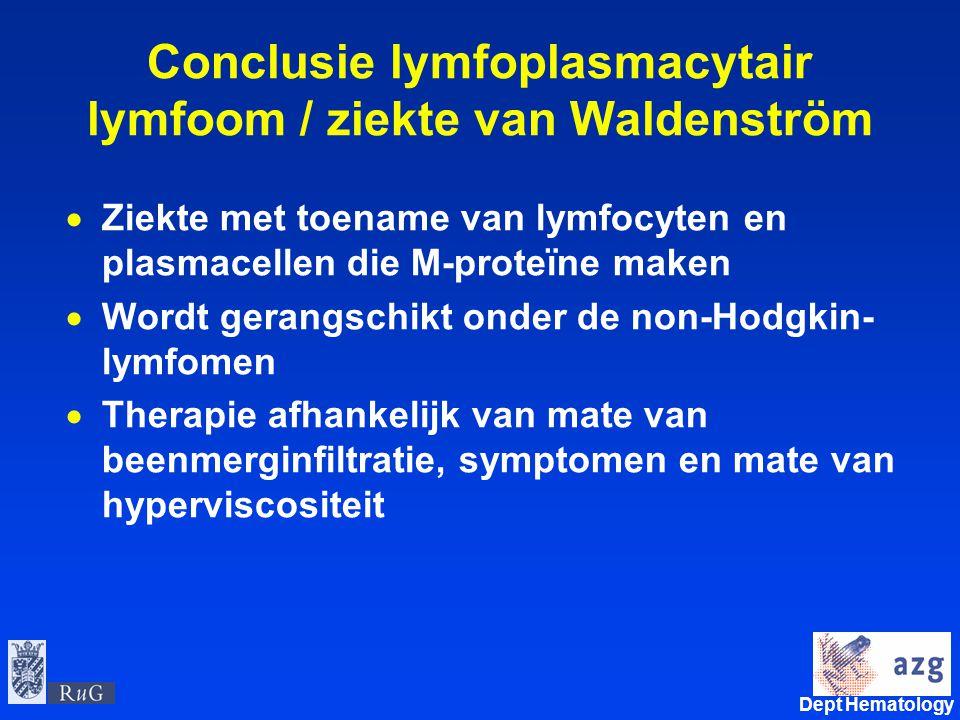 Conclusie lymfoplasmacytair lymfoom / ziekte van Waldenström