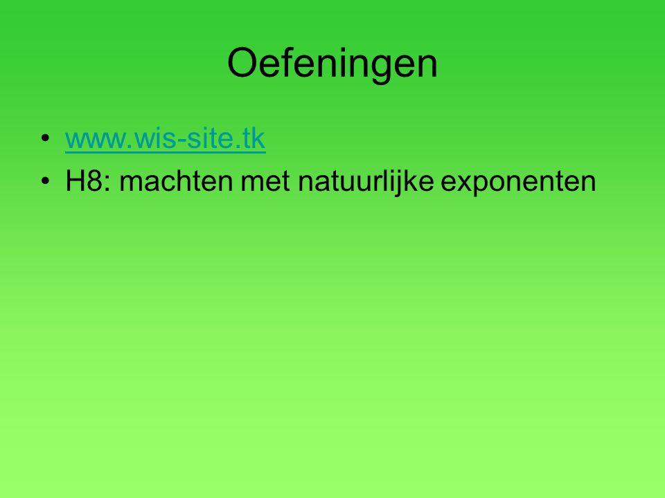 Oefeningen www.wis-site.tk H8: machten met natuurlijke exponenten