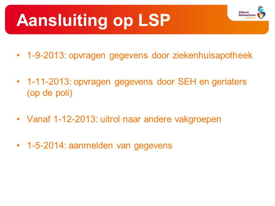 Aansluiting op LSP 1-9-2013: opvragen gegevens door ziekenhuisapotheek