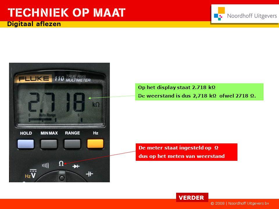 Digitaal aflezen VERDER Op het display staat 2.718 kΩ