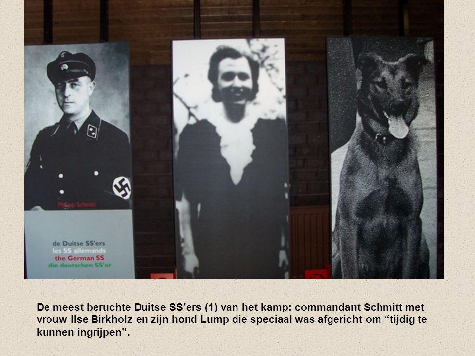 De meest beruchte Duitse SS'ers (1) van het kamp: commandant Schmitt met vrouw Ilse Birkholz en zijn hond Lump die speciaal was afgericht om tijdig te kunnen ingrijpen .
