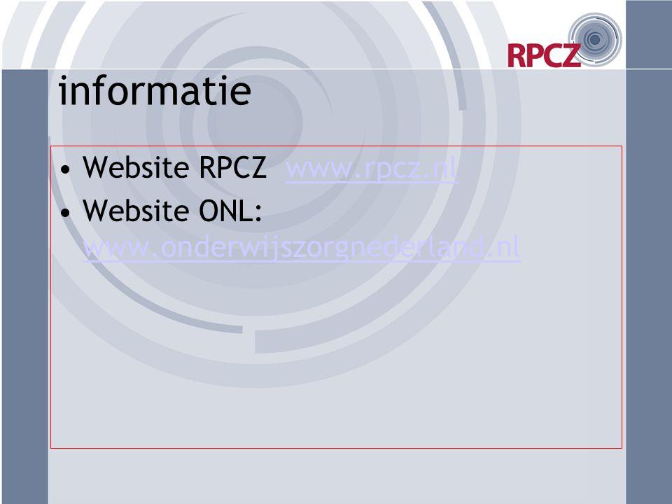 informatie Website RPCZ www.rpcz.nl
