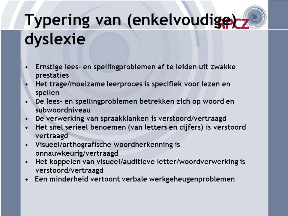 Typering van (enkelvoudige) dyslexie
