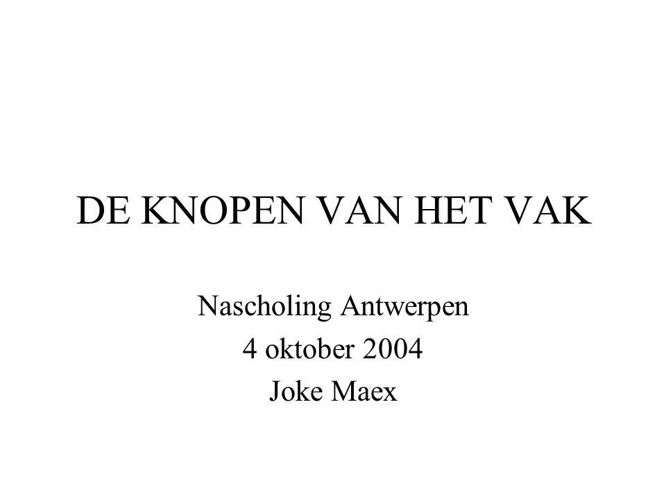 Nascholing Antwerpen 4 oktober 2004 Joke Maex