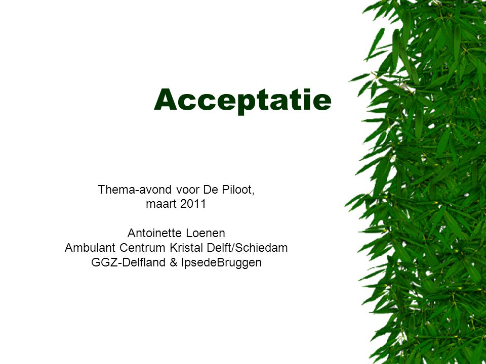 Acceptatie Thema-avond voor De Piloot, maart 2011 Antoinette Loenen