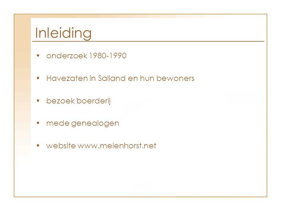 Inleiding onderzoek 1980-1990 Havezaten in Salland en hun bewoners