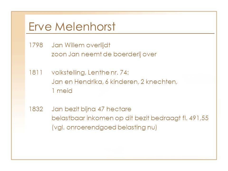 Erve Melenhorst 1798 Jan Willem overlijdt