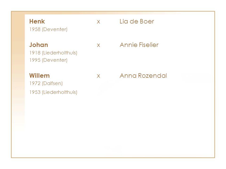 Henk x Lia de Boer Johan x Annie Fiselier Willem x Anna Rozendal