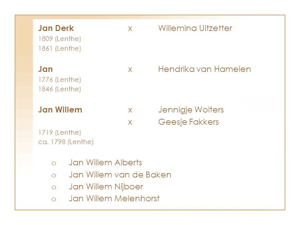 Jan Derk x Willemina Uitzetter
