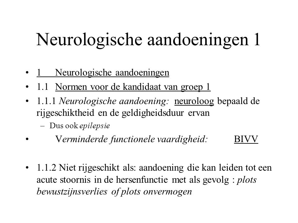 Neurologische aandoeningen 1