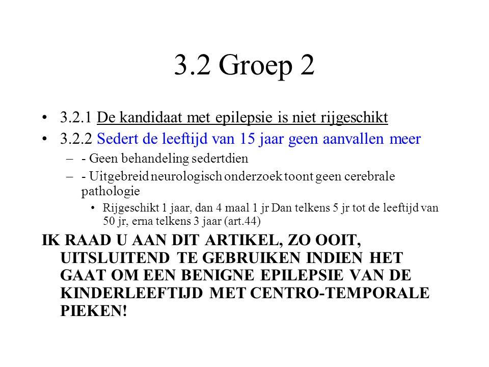3.2 Groep 2 3.2.1 De kandidaat met epilepsie is niet rijgeschikt