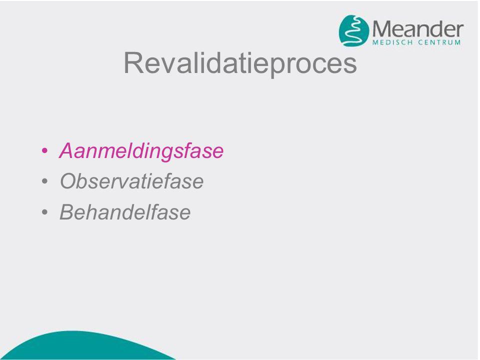 Revalidatieproces Aanmeldingsfase Observatiefase Behandelfase