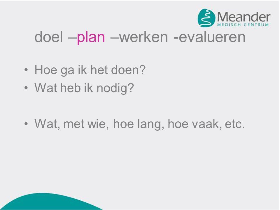 doel –plan –werken -evalueren