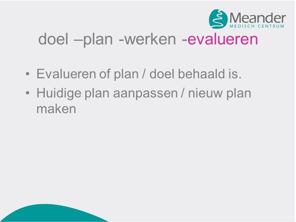 doel –plan -werken -evalueren