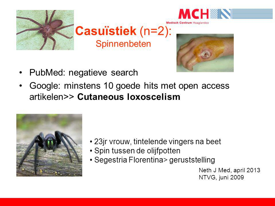 Casuïstiek (n=2): Spinnenbeten